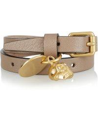 Alexander McQueen Leather Goldtone and Swarovski Crystal Wrap Bracelet - Lyst