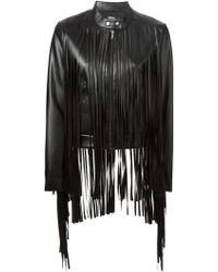 DKNY Fringed Leather Jacket - Lyst