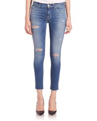 Hudson | Nico Distressed Ankle Skinny Jeans | Lyst