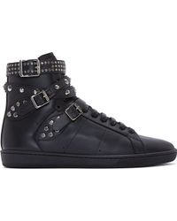 Saint Laurent Black Studs and Buckles Classic Court High_top Sneakers - Lyst