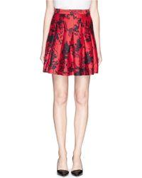 Diane von Furstenberg 'Gemma' Floral Print Wool-Silk Pleat Skirt red - Lyst