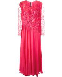 Elie Saab Embellished Lace Evening Dress pink - Lyst