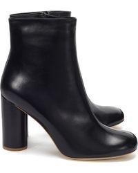 JOSEPH Block Heel Leather Boot In Black