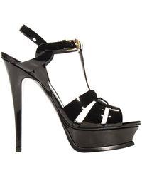 Saint Laurent Shoes Tribute Sandal Heel 10 4 Patent - Lyst