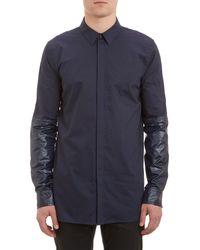 Helmut Lang Nylon-Sleeve Shirt - Lyst