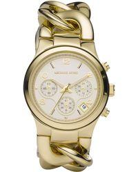 Michael Kors Runway Twist Goldtone Ip Stainless Steel Chronograph Bracelet Watch - Lyst