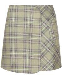 Victoria Beckham   Check Wrap Miniskirt   Lyst