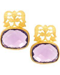 Kasturjewels - 22kt Gold Plated Brass Intricate Filigree Stone Earrings - Lyst