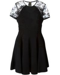 Elie Saab Lace Detail Flared Dress black - Lyst