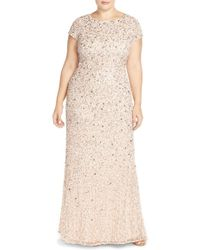 Adrianna Papell | Embellished Scoop Back Gown | Lyst