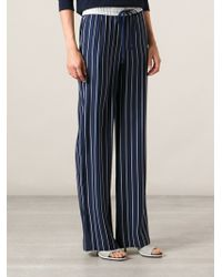JOSEPH Striped Pyjama Style Trousers - Blue