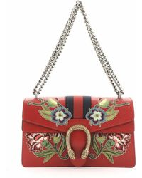 Gucci - Web Dionysus Bag Embroidered Leather Small - Lyst