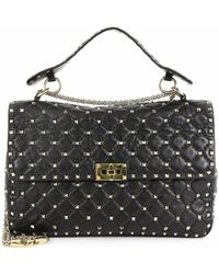 Valentino Rockstud Spike Flap Bag Quilted Leather Large - Black