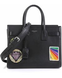 Saint Laurent - Sac De Jour Nm Bag Patch Embellished Leather Baby - Lyst
