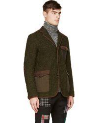 Junya Watanabe Green Tweed and Leather Smoking Jacket - Lyst