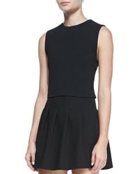 Alice + Olivia Jersey Crewneck Cropped Top - Lyst