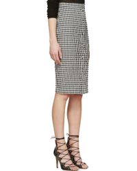 Altuzarra Black And White Seersucker Gingham Balthazar Skirt - Lyst