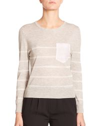 Band of Outsiders Silk & Cashmere Contrast-Pocket Top - Lyst