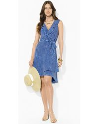 Lauren by Ralph Lauren Striped Sleeveless Wrap Dress - Lyst