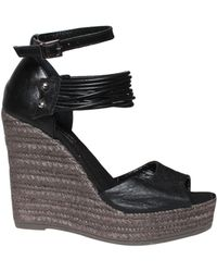 Collection Privée Leather Sandals With Rope Wedge - Lyst