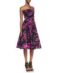 Oscar de la Renta Strapless Geo-print Flare Dress - Lyst
