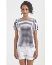Band of Outsiders Boatneck Tee blue - Lyst