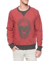 True Religion Skull Raglan Sleeve French Terry Mens Sweatshirt - Lyst
