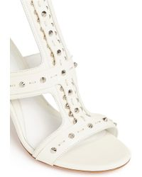 Alexander McQueen Stud Overlay Leather Sandals white - Lyst