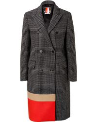 MSGM Wool Blend Colorblock Coat With Stole - Lyst