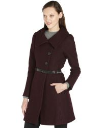 SOIA & KYO - Wine Wool Blend Belted 'Autry' Coat - Lyst