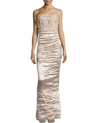 Nicole Miller Technometal Strapless Gown - Lyst