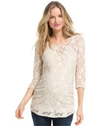 Jessica Simpson Maternity Lace Three-quarter-sleeve Top - White