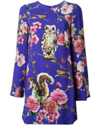 Dolce & Gabbana Enchanted Forest Shift Dress - Lyst