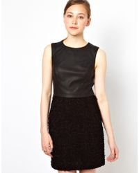 Oasis Tweed Pu and Ponte Shift Dress - Lyst