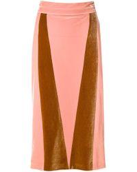 Alexander Lewis - Velvet Panel Skirt - Lyst