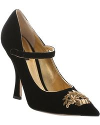 Dolce & Gabbana Black Velvet Embroidered Pointed Toe Mary Jane Pumps - Lyst