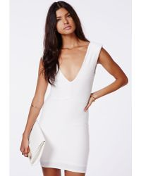 Missguided Babara Textured V-Neck Mini Dress Cream - Lyst