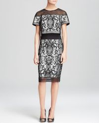 Tadashi Shoji Dress - Short Sleeve Illusion Neck Lace Sheath - Lyst