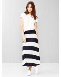 Gap Stripe Foldover Maxi Skirt - Blue