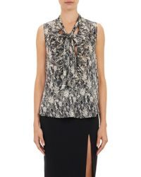L'Agence Lace-print Ruffled Blouse - Lyst