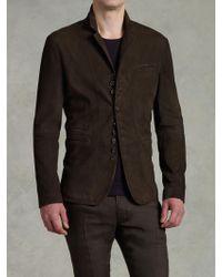 John Varvatos Notch Lapel Leather Jacket - Lyst