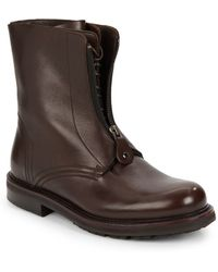 Emporio Armani Leather Zip & Lace-Up Boots - Lyst