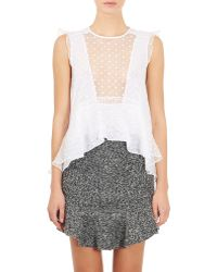 Isabel Marant Embroidered Organza Vatelle Blouse white - Lyst