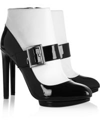 Alexander McQueen Two-tone Patent-leather Ankle Boots - Lyst
