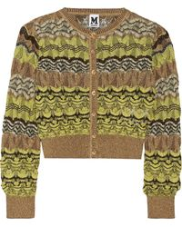 M Missoni Metallic Crochet-knit Cardigan - Lyst