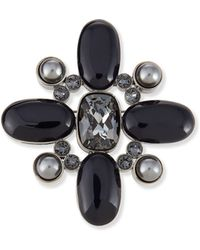 St. John - Signature Pearly & Crystal Brooch - Lyst