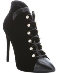 Giuseppe Zanotti Nero Leather And Velvet 'Olinda 110' Lace-Up Ankle Booties - Lyst