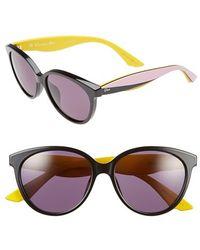 Dior Women'S 'Envol 3' 55Mm Cat Eye Sunglasses - Black/ Pink/ Yellow - Lyst