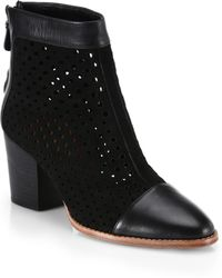 Rebecca Minkoff Perforated Suede & Leather Bedford Ankle Boots - Lyst
