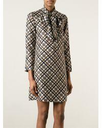 Yves Saint Laurent Vintage Checked Shirt Dress brown - Lyst